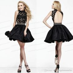 Wholesale Little Black Dress - Buy Top Quality ! Halter A Line Little Black Mini Short Prom Dresses Backless Lace Cocktail Dress 2014 Party Gowns Sexy $94.41 | DHgate