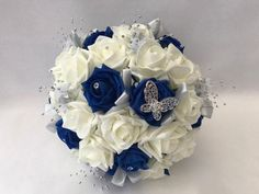 Beach Wedding Headpieces, Headpiece Wedding, Royal Blue Bouquet, Flower Girl Wand, Bridesmaid Headband, Artificial Wedding Bouquets, Foam Roses, Flower Spray, Flower Bouquet Wedding