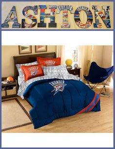 """Oklahoma City Thunder Inspired Wooden Letters Personalize your child's room or any room 9"""" Wooden Letters with Drilled holes in the back for easy hanging. Can do any theme, college, team or bedding for boy or girl. . I can even do your photo's for memories or a family one with your family photo's.. Can match any bedding theme. $7.50 per letter Email me at annhenderson@bellsouth.net"""