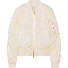 Victoria, Victoria Beckham Ruffle-trimmed matelassé bomber jacket ($665) ❤ liked on Polyvore featuring outerwear, jackets, bomber jacket, ivory, zip bomber jacket, zipper jacket, blouson jacket, zip jacket and slim fit bomber jacket
