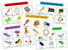 Loto des objets de l'école, loto materiel scolaire Fun Activities For Toddlers, Core French, French Classroom, French School, Nursery School, School Games, Teaching French, Teaching Tools, School Supplies