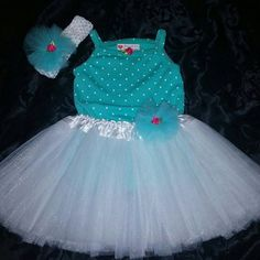 Party Dress Tutu Outfit 18mo-Green polka dot-white tutu-mint green-cake smash-baby photo shoot-baby pictures-baby bodysuit-free shipping by DivasToychest on Etsy