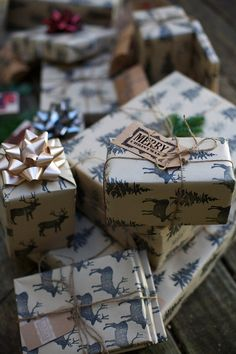 Using brown dollar store paper and stamps. Handmade Christmas wrapping paper