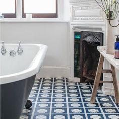 Pattern Larkspur - Harvey Maria Hall Bathroom, Bathroom Kids, Harvey Maria, Underfloor Heating, Living Room Kitchen, Clawfoot Bathtub, Vinyl Flooring, Tile Floor, New Homes