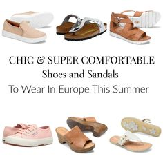 The Best Shoes And Sandals For European Travel This Summer If you are traveling to Europe this summer you are probably wondering what shoes to pack that will look chic but still be super comfortable to walk in while you take in the sights all day long. Best Travel Sandals, Best Shoes For Travel, Travel Shoes, Packing Shoes, Packing Tips, Travel Packing, Europe Travel Outfits, Travel Outfit Summer, Summer Travel