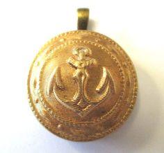 NAVAL ACADEMY, NAVY antique button pendant. RARE Navy uniform button