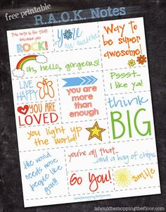 Random Acts of Kindness Notes perfect for Kids on www.ihoardfreeprintables.com
