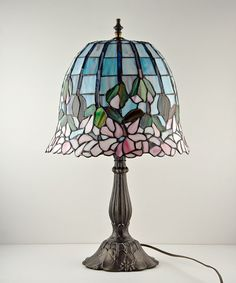 Leaded Slag Glass Tiffany Style Table Lamp by TheRealmCollectibles