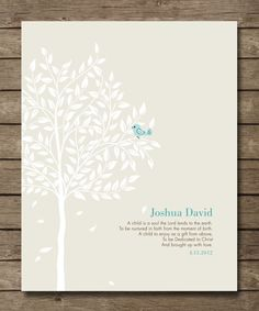Personalized Christening Tree Gift, Bible Verse, Gift for Godchild, Bird in Tree, Baptismal Gift, Religious, Wall poster art 8 x 10,. $20.00, via Etsy.