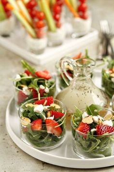 Strawberry Salad with Poppyseed Dressing. When it's hot outside, there's nothing better than a crisp, cool salad. One of my favorites is an arugula salad with strawberries, goat cheese and almonds topped with a homemade poppyseed dressing. Snacks Für Party, Appetizers For Party, Appetizer Recipes, Appetizer Salads, Lunch Party Ideas, Individual Appetizers, Brunch Bar Ideas, Tea Party Recipes, Mini Party Foods