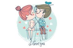 Cute girl and boy kissing. by NatalyS on @creativemarket