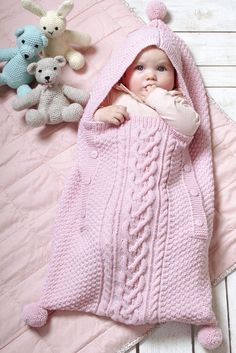 Most Beautiful Knitting Baby Sleeping Bag Patterns - Knittting Crochet Knitted Baby Clothes, Knitted Baby Blankets, Baby Blanket Crochet, Baby Knitting Patterns, Baby Patterns, Free Knitting, Baby Sleeping Bag Pattern, Crochet Baby Cocoon, Baby Cocoon Pattern