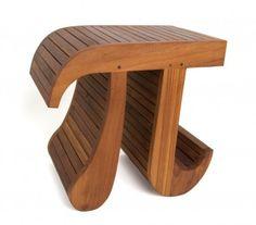 356 solid Teak scientific Pi stool (shower, bathroom, display)