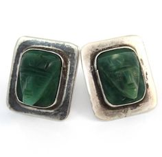 Vintage Mexico Taxco Sterling Silver & Green Stone Earrings