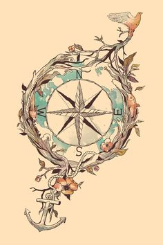Bon Voyage Print - tattoo inspiration....totally cool because i was just daydreaming about my desire for the anchor and was thinking it'd be neat to have a compass wth my bff's initials at each point. Hmmmmm