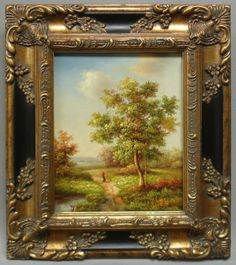 Framed Country French Oil Painting of Classic Landscape in Antique Gold Frame | eBay