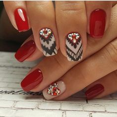 Accurate nails Ethnic nails Exquisite nails Nail designs with pattern Nails ideas 2017 Nails with rhinestones ideas Nails with stones Original nails Red Nail Art, Red Nail Polish, Cool Nail Art, Red Nails, Hair And Nails, Fall Nails, Nail Art Design Gallery, Best Nail Art Designs, Cute Nails
