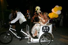 Bicycle built for three for cute wedding getaway!!