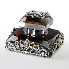 Square Tea Color Crystal Perfume Bottle 20ml with Czech Stones Jeweled Crown Decor Base and Lid