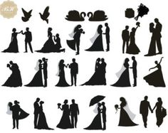 50% Off Sale/30 Wedding Party Silhouette Clipart/Wedding