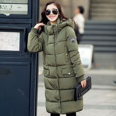 Womens Coats And Jackets Winter 2017 Winter Medium-Long Parka Womens Clothing Over Knees Padded Jacket Hooded Cotton Coat C1696