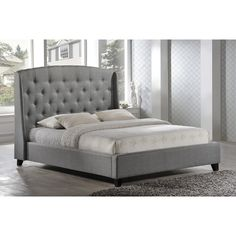 USA LuXeo Laguna Tufted Upholstered Contemporary Grey Platform Bed (King)