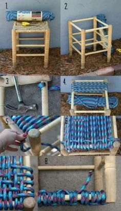 "Oturak yapımı ""DIY 22 crafts to make you fall in love with DIY"", ""Stool Steps DIY could use a pretty natural rope good idea for broken yardsale chairs"", Diy Projects To Try, Crafts To Make, Home Crafts, Fun Crafts, Diy Home Decor, Craft Projects, Craft Ideas, Fun Ideas, Diy Stool"