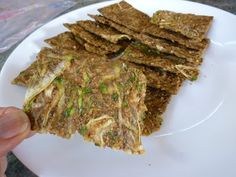 Foods For Long Life: Crispy Raw Vegan And Gluten Free Zucchini Onion Crackers - High In Omega-3 Fatty Acid