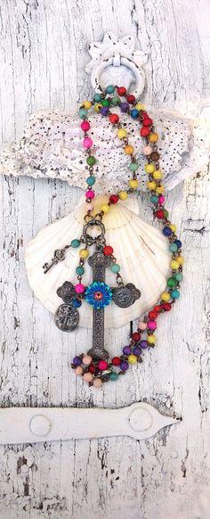 Colorful Cross Necklace RELIGIOUS CROSS by SecretStashBoutique