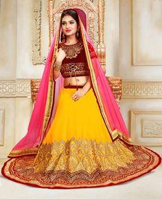 Yellow Lehenga, Ghagra Choli, Lehenga Designs, Looking To Buy, Bollywood, Aurora Sleeping Beauty, Chiffon, Velvet, Disney Princess
