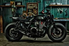 """kustomking: """" Guerilla Four XJR 1300 The front end was beefed up with a set of Yamaha VMAX forks, which are held in place by custom-made triple trees. The wheels also go for the brawn, with 16 x Bobber Custom, Custom Cafe Racer, Cafe Racer Bikes, Cafe Racer Motorcycle, Cafe Racers, Custom Bikes, Women Motorcycle, Motorcycle Quotes, Motorcycle Helmets"""