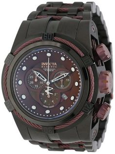 Invicta Reserve 12733 Men's Zeus Watch Chronograph Brown MOP Dial With Black Ion Stainless Steel