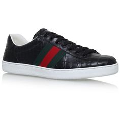 Gucci New Ace Croc Sneakers (3,010 CAD) ❤ liked on Polyvore featuring men's fashion, men's shoes, men's sneakers, gucci mens sneakers, gucci mens shoes, mens skate shoes, mens sport shoes and mens sports shoes