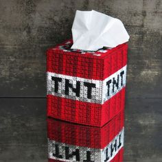 Picture of Minecraft TNT Tissue Box Cover and tutorial
