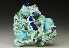 Chalcoalumite with Azurite from the Bisbee mining area in Arizona, USA.