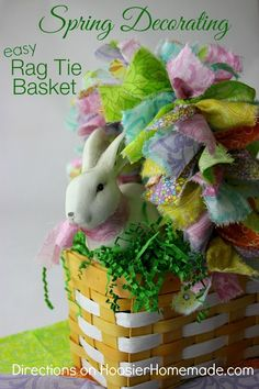 Spring Decorating: Easy Rag Tie Basket | Direction on HoosierHomemade.com