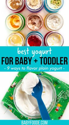 A comprehensive guide on the Best Yogurt for Babies and Toddlers – when can you start serving yogurt, which brands are the best, ingredient list breakdown and how to serve yogurt to baby. PLUS – 9 delicious ways to flavor plain yogurt! Great for baby-led weaning and as a toddler snack! #6thmonthbaby Toddler Recipes, Toddler Snacks, Lunch Recipes, Healthy Recipes, Organic Yogurt, Cacao Beans, Plain Yogurt, Baby Led Weaning, Picky Eaters