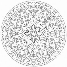 """Elegant Mandala with fine lines - Mandala is a Sanskrit word that loosely translates to mean """"circle"""" or """"center. This is a simple and very symmetric Mandala coloring page. When the plant world fits perfectly into a Mandala drawing, that Free Adult Coloring Pages, Mandala Coloring Pages, Coloring Book Pages, Printable Coloring Pages, Free Coloring, Kids Coloring, Coloring Sheets, Mandalas Painting, Mandalas Drawing"""