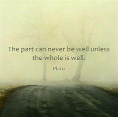 The part can never be well unless the whole is well ~ Plato
