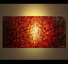 red abstract fire art wall decor