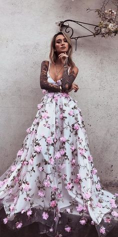 Beautiful Prom Dresses A-line Spaghetti Straps Floral Lace Long Prom Dress White Evening Dress Floral Prom Dresses, Straps Prom Dresses, Prom Dresses Long With Sleeves, A Line Prom Dresses, Tulle Prom Dress, Beautiful Prom Dresses, Cheap Prom Dresses, Flower Dresses, Homecoming Dresses