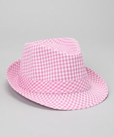 Take a look at this Pink Gingham Fedora Hat by Born Posh on #zulily today!