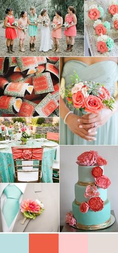 coral and mint wedding color combo, diy wedding cakes with lush flowers toppers,… corail et menthe mariage couleur combo, gâteaux … Trendy Wedding, Rustic Wedding, Our Wedding, Dream Wedding, Wedding Coral, Wedding Bouquets, Wedding Reception, Wedding Turquoise, Wedding Boots