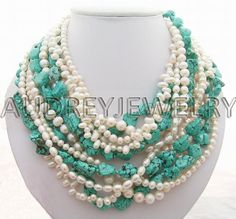 Holiday Party,Beaded Necklace,turquoise necklace,Beaded Jewelry,Pearl Necklace With Turquoise Pearl. $48.00, via Etsy.