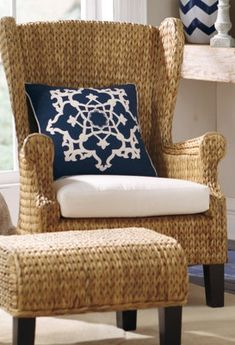 TEXTURE!  WHO DOESN'T NEED IT?  Santino Wing Chair and Ottoman....GR