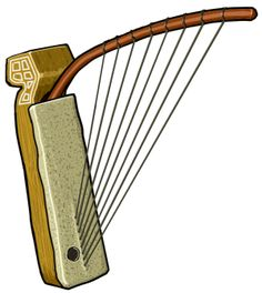 WAMBI Bow lute, pluriarch. Each string has its own flexible carrier. Africa (akam, kalangu, wambi)