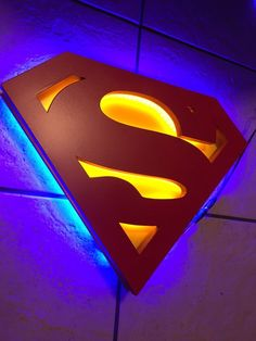 Justice league Superman Man of Steel Dual Color Illuminated Sign Logo Superman, Superman Symbol, Superman Baby, Superman Man Of Steel, Superman Room, Marvel Lights, Man Cave Games, Superman Wallpaper, Light Wall Art