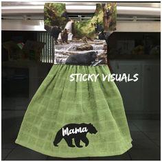 Mama Bear Kitchen Oven Door Towel Grey Embroidered