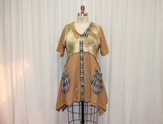 Upcycled tunic  L/XL Womens  tee shirt dress Eco clothing funky women urban chic dress altered couture lagenlook Pockets dress plaid mustard