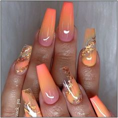 Ombre pink and orange and gold glitter on almond nails - 40 Fabulous Nail Designs That Are Totally in Season Right Now - clear nail art designs,almond nail art design, acrylic nail art, nail designs with glitter cutenails Cute Acrylic Nail Designs, Best Acrylic Nails, Acrylic Nail Art, Autumn Nails Acrylic, Clear Nail Designs, Orange Nail Designs, Gold Nail Designs, Clear Nails With Design, Almond Nails Designs Summer